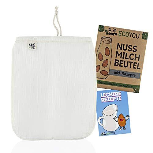 EcoYou® Nussmilchbeutel Bio waschbar aus Hanf ♻ Veganer Nussmilch Beutel inkl. leckeren Rezepten ♻ Hochwertiges Passiertuch 30 cm ♻ nut Milk Bag, Mandelmilch Tuch, Filter-Beutel, Filtertuch Saft