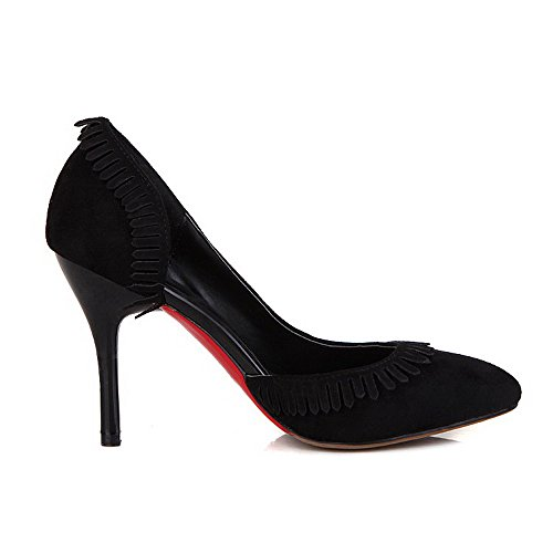 VogueZone009 Donna Frange Plastica Tacco A Spillo Scarpe A Punta Tirare Ballerine Nero