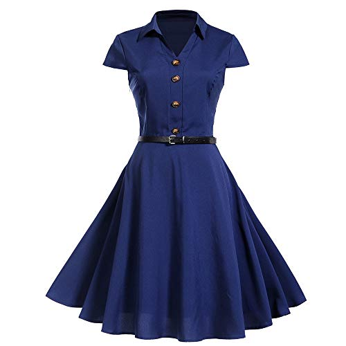 Plot Damen Retro Kurzarm Einfarbig Cocktailkleid Knielang Party Kleid Abendkleid (Dunkelblau, L)