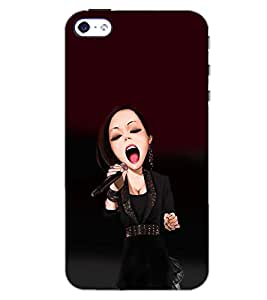 PrintDhaba SINGING GIRL D-6648 Back Case Cover for APPLE IPHONE 5 (Multi-Coloured)
