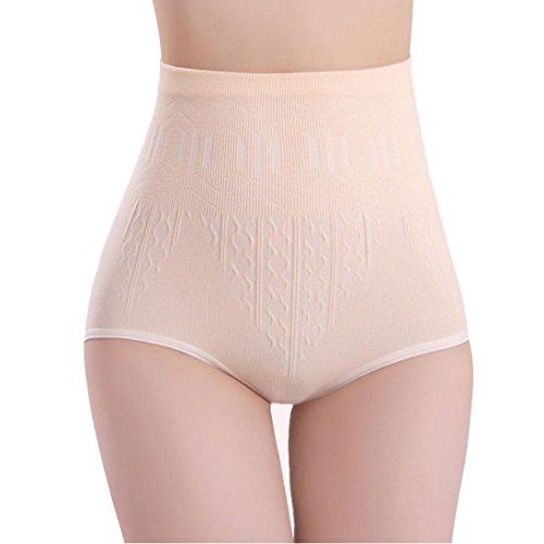 Reaso Culottes Femmes Sous-Vêtements Sexy Slip Bas Shorty Culotte Invisible Sans Court Taille Haute Contrôle du ventre Body Shaper Slips Minceur Un Pantalon Shorts de Fitness (Taille unique, Beige)