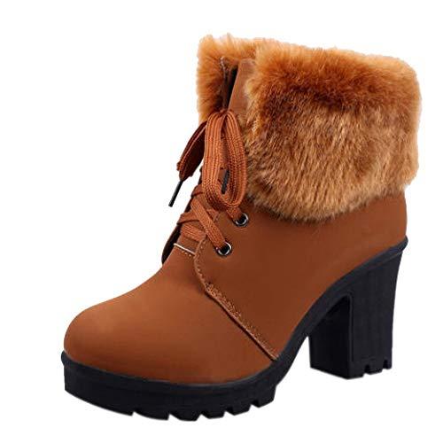 Riou Damen Schnürstiefel Winter Warme Runde Kappe Gefüttert Elegant Freizeit Outdoor Rutschfeste Verdicken SAMT Hohen Absatz Ankle Stiefel Schuhe …