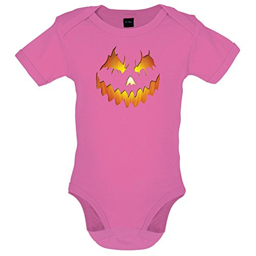 Halloween Pumpkin Face - Lustiger Baby-Body - Bubble-Gum-Pink - 12 bis 18 (Gum Bubble Kostüme Halloween)