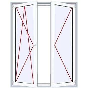 JeCo Fenster Kunststofffenster Wohnraumfenster 60 mm Profil Sonderma/ße m/öglich 2 fl/ügelig mit Pfosten BxH:1900x800 mm 2-fach-Verglasung