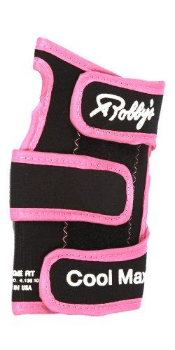 Robby's Coolmax Original Bowling-Handschuh, für die linke Hand, Schwarz/Pink, Large