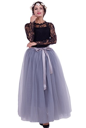 Dorchid Women ' s 1950 vintage Puffy tutu gonne maxi Tulle sottoveste sottovestitura 7 strati Grey