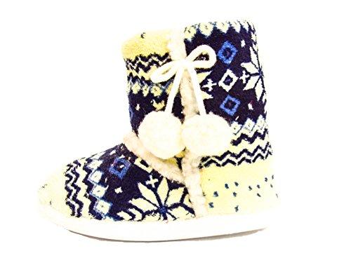 TMY- hüttenschuhe fille avec kristalmuster fin, chaud, coloris bleu/blanc, taille :  28/35 29/34 Multicolore - Blau/ Weiss