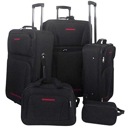 Anself 5 tlg. Reisekofferset Koffer Kofferset Trolley Reisetrolley aus PVC Schwarz