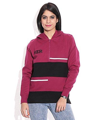 Slazenger Women Maroon Woollen Hooded Jacket Size-Large