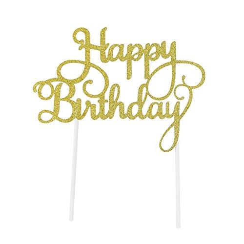 SUNBEAUTY Happy Birthday Gold Silber Glitter Kuchendekoration Cake Topper für Geburtstag (Gold)