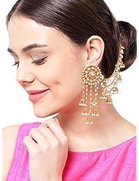 PRITA 18K Gold Plated White Polki & Pearl Jhumka Earrings For Women