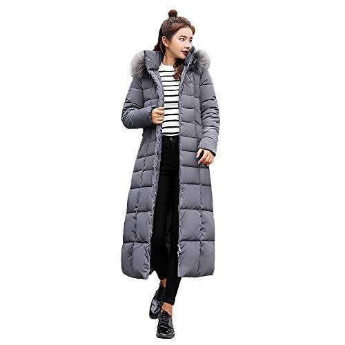 SEWORLD Winterjacke Damen Lange Daunenjacke Jacke Outwear Frauen Winter Warm Daunenmantel Kapuzenmantel mit Baumwoll-Innenfutter Taschenmäntel(Grau,36 DE/L CN)