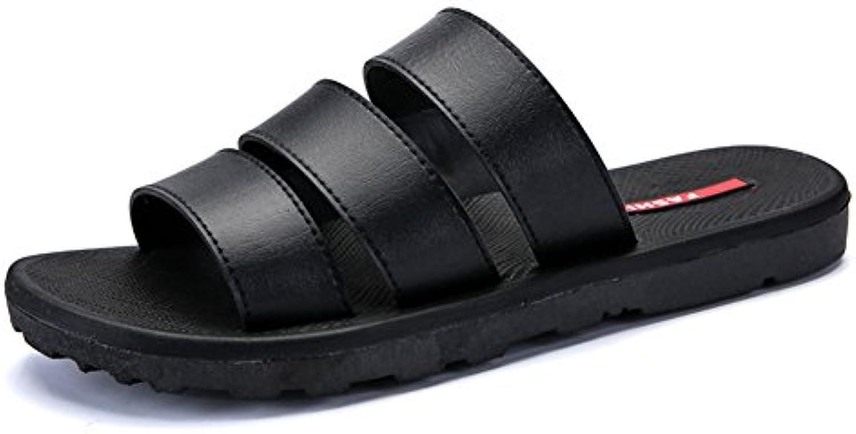 QIDI Sandalen Männlich Kunststoff Schwarz Weiß Rutschfeste Dicke Boden Hausschuhe (Farbe : Schwarz  größe : EU43