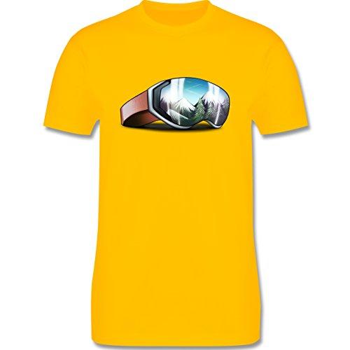 Wintersport - Skibrille - Herren Premium T-Shirt Gelb