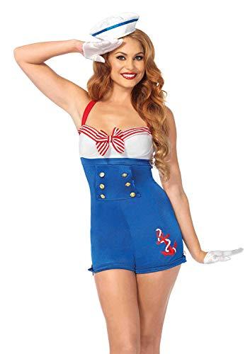 Damen Kostüm Matrose Sexy - LEG AVENUE 83638 - 2Tl. Hafenmeisterin Kostüm Set, Medium, Damen Karneval Kostüm Fasching