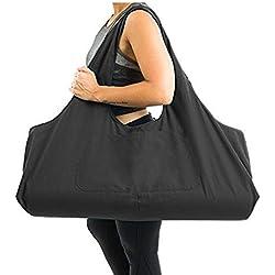 Zip Bolsa de colchoneta de yoga Grande, Bolsa de asa de yoga Aolvo con correa, Bolsa de lona de algodón 2 Bolsillos adicionales para 2 Estera , 2 toallas, Llaves, Negro