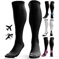 Calcetines de Compresión para Hombres y Mujeres - Medias de Compresion para Deporte - Maratones - Enfermeras - Estrés tibial Interior - Durante Embarazo (S/M (35-42), Negro (sin logotipo))