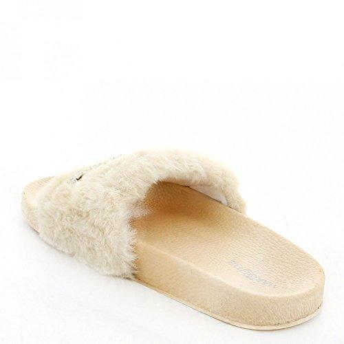 Ideal Shoes Claquettes avec Fourrure Synthétique et Chaîne Talia Beige