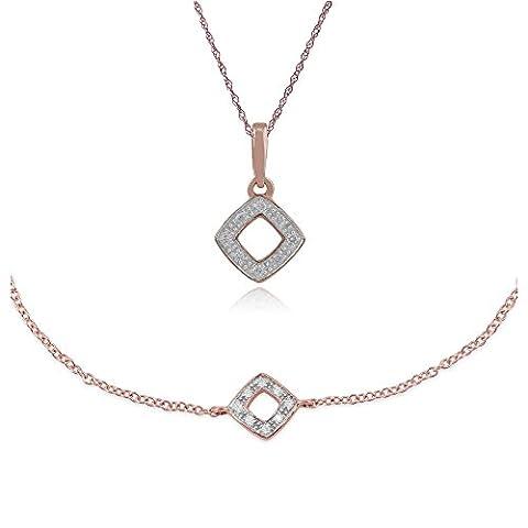Gemondo 9ct Rose Gold Nasenstecker Diamant 45Halskette und 19cm Armband Set (0,03 Ct Diamant-set)