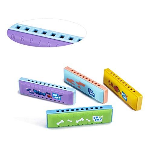 Xionghaizi Cartoon Toy Harmonica, 10-Loch-Mundharmonika für Anfänger, Cartoon-Mini-Version eines kleinen Instruments, Blau (Schwein), Grün (Welpe), Lila (Kätzchen), Gelb (Kaninchen) Hochwertige Mundha -