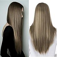 شعر مستعار طويل مفرود للنساء بطول 60.96 سم، شعر مستعار بلون متدرج بجذور داكنة لون بني للسيدات والشعر المستعار الطبيعي بدون لاصق