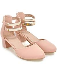 NVLXIE Señora Zapatos Sweet Rough Talón Cómodo Dance Sequins Zipper PU Estudiantes Blanco Rosa 5cm, Pink, 41