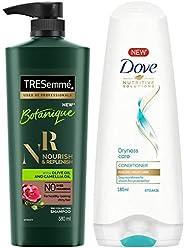 TRESemme Botanique Nourish and Replenish Shampoo, 580ml & Dove Dryness Care Conditioner, 180ml