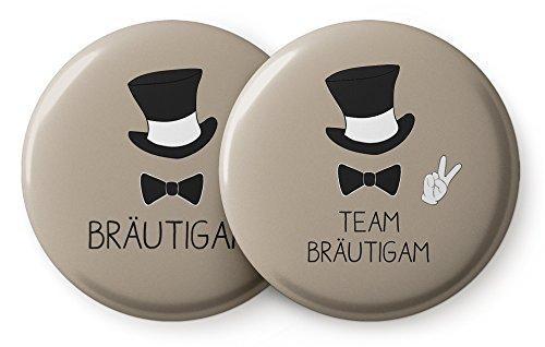 "Spielehelden JGA Männer – Junggesellenabschied Button 1x ""Bräutigam"" und 11x ""Team Bräutigam"" – Cooles Buttons Set"
