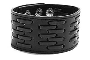 Bracelet pour Homme en Cuir Large - Fermeture Pression - Noir - Bracelet Ceinture