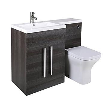 Aquariss Designer LH Grey Combi Bathroom Vanity Unit with Basin + Back To Wall Toilet