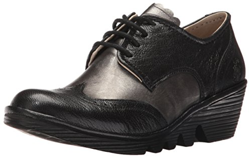 FLY London Palt, Brogues Femme Noir (Black/ant.silver 029)