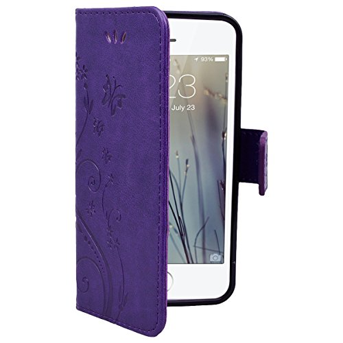 HB-Int PU Leder Hülle für iPhone SE / 5S / 5 Wallet Lederhülle Standfunktion Kreditkartenfächer Handytasche Schmetterling Drucken Muster Schutzhülle mit Handschlaufe Magnetverschluss Ledertasche Klapp Lila