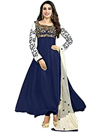 96fb57b95 SAMAY CREATION Women s Georgette Embroidered Semi-stitched Anarkali Salwar  Suit Dress Materials (Navy Blue