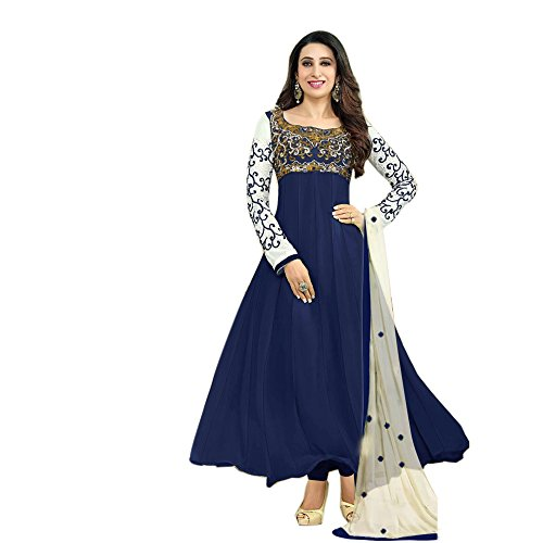 SAMAY CREATION Women\'s Georgette Embroidered Semi-stitched Anarkali Salwar Suit Dress Materials (Navy Blue)
