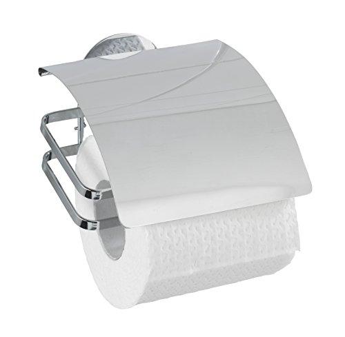 Preisvergleich Produktbild Wenko 21781100 Turbo-Loc Toilettenpapierhalter Cover, Befestigen ohne bohren, Edelstahl rostfrei, 12 x 9,5 x 13 cm, glänzend