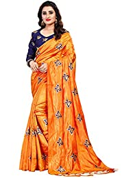4eba8f5545e12c Vaidehi Fashion Paper Silk Embroidered Saree with blouse piece (Golden-ButterFly-Orange)