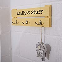 Kids Personalised Coat Rack - 3 Hooks - Colour Blue