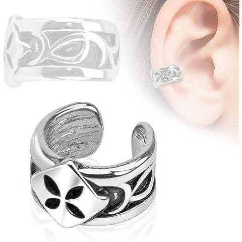 bungsa® quadrifoglio, argento 4fogli Shamrock Ear Cuff