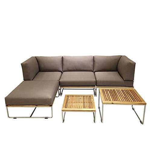 OUTLIV. Loungemöbel Outdoor Samba Loungeecke 6-teilig Edelstahl/Akazie inklusive Kissen Gartenlounge Outdoor Lounge Garten Terrasse Balkon