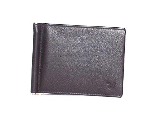 Roncato portafoglio uomo, Prima 411913-44, fermasoldi con tasca e molla in pelle, colore testa di moro