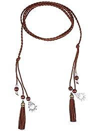 63f75f762fe5f Sharplace 165cm Länge Schmale Gürtel Taillengürtel Mode Damen Kleidgürtel  Hippie Quaste