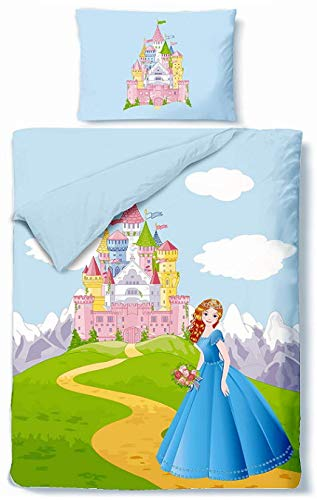 Aminata Kids Bettwäsche 100-x-135-cm Mädchen Prinzessin Kinder Baumwolle mit Reißverschluss bunt (Sturm Bettwäsche)