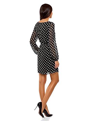 oodji Ultra Damen Chiffon-Kleid mit Gürtel Schwarz (2912D)
