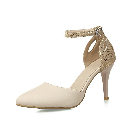 AllhqFashion Femme Matière Mélangee Pointu Stylet Boucle Couleur Unie Chaussures Légeres Beige