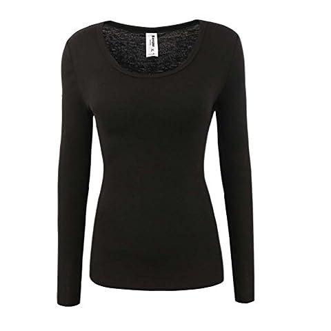 Bienzoe Women's Long Sleeve High Tech Fiber Polypropylene Thermals Tops Black L