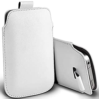 I-Sonite (White) Premium Slip In Pull Tab Sleeve Faux Leather Pouch Case Cover For Essential ph-1 [XXL]