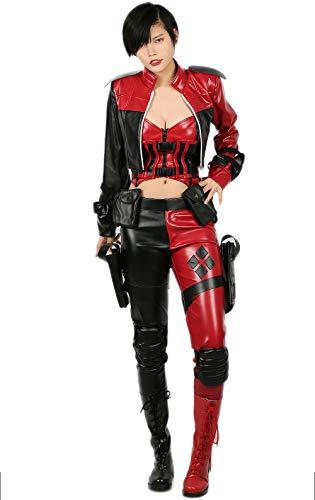 Nexthops costume carnevale harley quinn cosplay in pelle rosso 9pz di giacca + gilet + corset + pantaloni + fondina + ginocchiere + bracciale + cintura + tasche accessorio sexy per donna adulti xxl