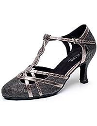 JSHOE Frauen T-strap Glitter Tango Salsa Hochzeit Latin Dance Schuhe Geschlossen-Zehe Mid Heel PumpGrey-heeled7.5cm-UK5.5...