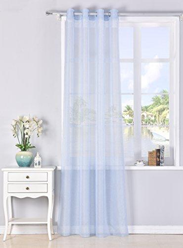 Tende trasparente con 8 ollao (1 pannello, 140 x 260) per soggiorno e camera. tenda di 140_x_260_cm. modello clara (blu chiaro)