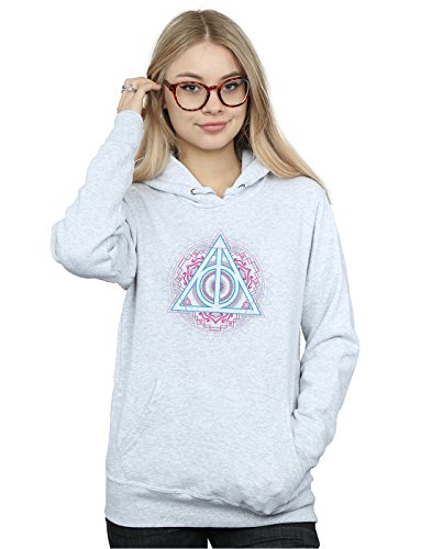 Absolute Cult Harry Potter Mujer Neon Deathly Hallows Capucha Cuero Gris X-Large